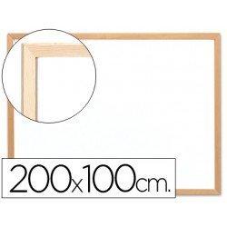 Pizarra Blanca laminada con marco de madera 200x100 Q-Connect