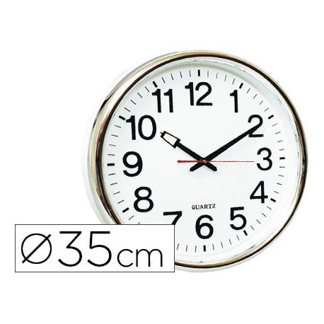Reloj de pared plastico 38 cm marco color plateado