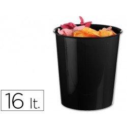 Papelera plástico Q-Connect negro opaco de 16 litros