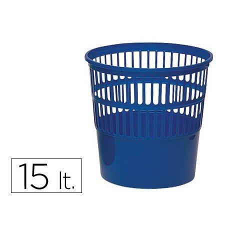 Papelera plastico rejilla azul de 15 L