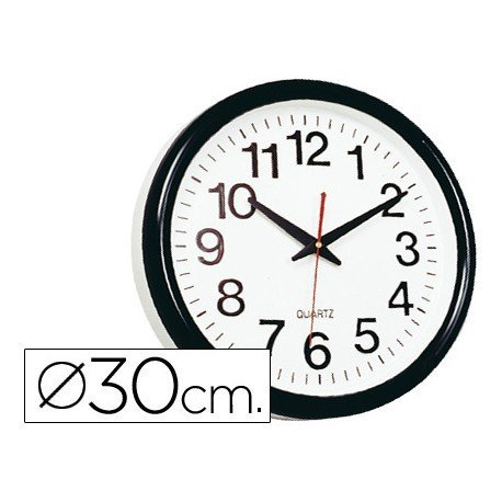 Reloj pared plastico 30 cm marco color negro