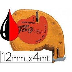 Cinta Dymo Letratag LT Rojo Plástico