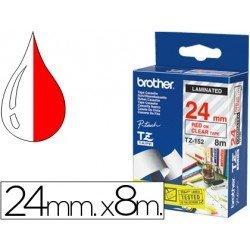 Cintas Brother TZ-152 24mm (ancho) x 8m (largo) transparente/rojo