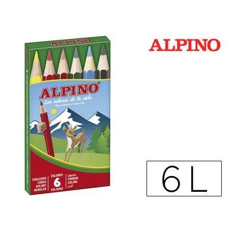 Lapices de Colores Alpino Hexagonales Caja 6 lapices Cortos