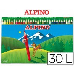 Lapices de Colores Alpino Hexagonales Caja 30 lapices largos
