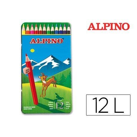 Lapices de Colores Alpino Hexagonales Caja metal 12 unidades