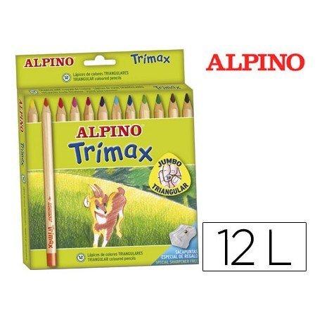 Lapices de Colores Alpino triangulares caja 12 unidades con mina gruesa