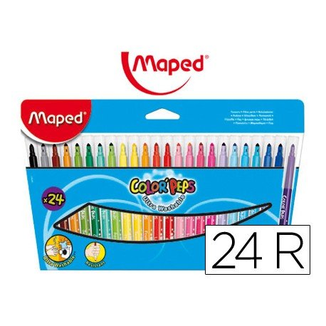 Rotuladores Maped Color'Peps punta media lavable caja 24 unidades