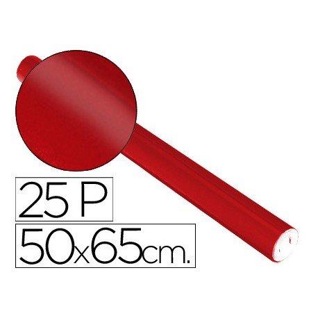 Papel metalizado Sadipal rollo 25 pliegos rojo 65g/m2 medidas 50x16,25 m