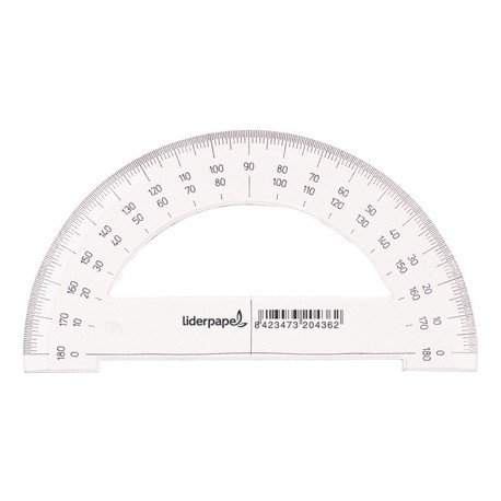 Semicirculo plastico marca Liderpapel 14 cm
