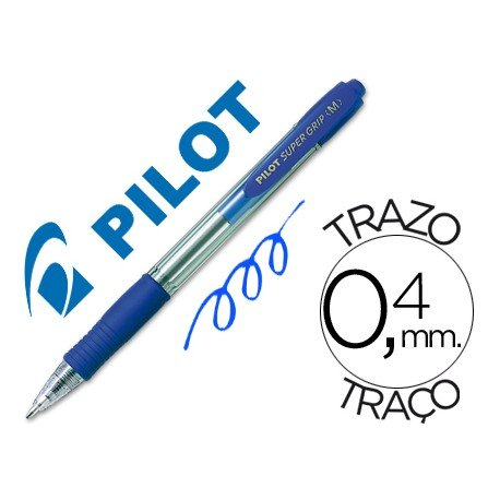 Boligrafo Pilot Super Grip azul 0,4 mm