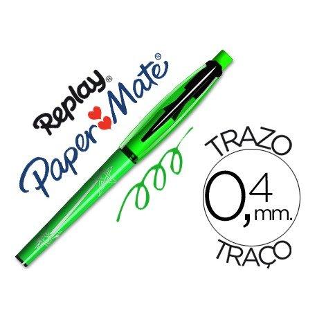Boligrafo Borrable Replay Max Papermate 0,4 mm color verde