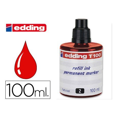 Tinta permanente rotulador Edding T-100 color rojo