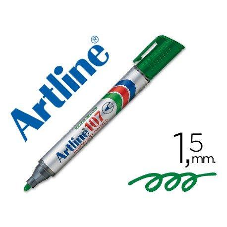Rotulador Permanente Artline 107 color Verde Punta Redonda
