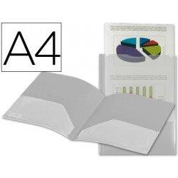 Carpeta dossier con doble bolsa Liderpapel Din A4 color incoloro