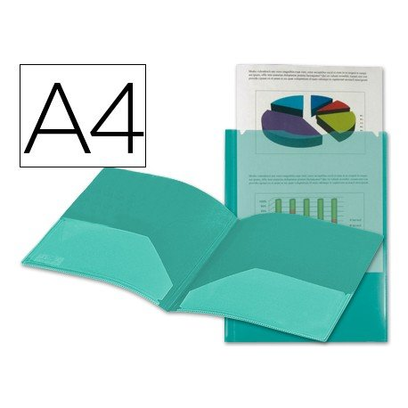 Carpeta dossier con doble bolsa Liderpapel Din A4 color verde