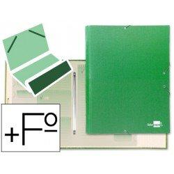 Carpeta clasificadora carton gomas Paper Coat Liderpapel verde