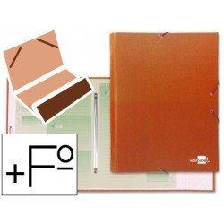 Carpeta clasificadora carton gomas Paper Coat Liderpapel naranja