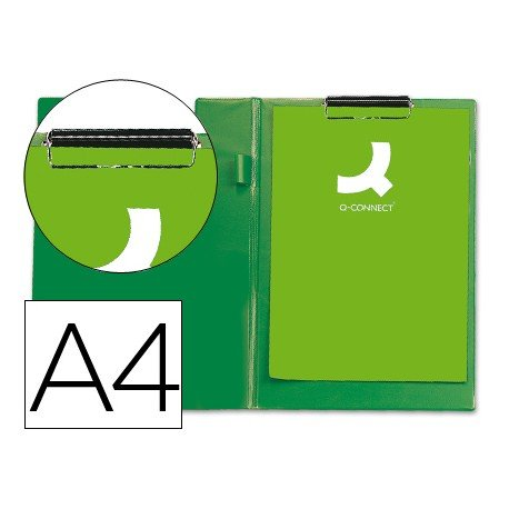 Portanotas plastico con miniclip superior Q-Connect verde