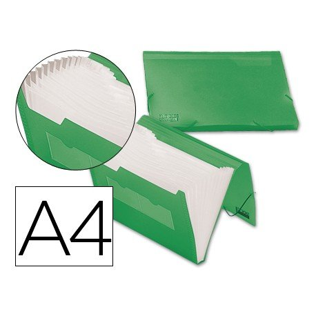Carpeta clasificadora gomas polipropileno Beautone Din A4 verde