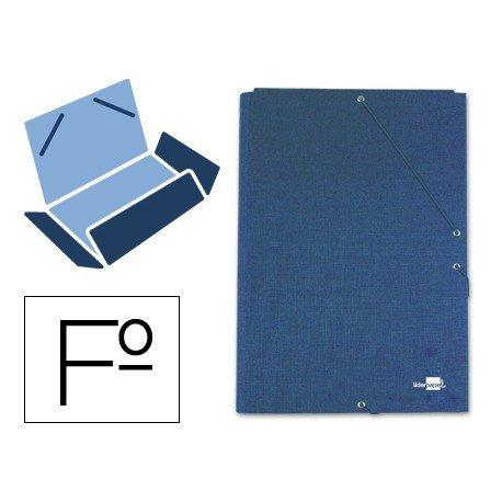 Carpetas de gomas carton forrado Paper Coat Liderpapel Folio azul