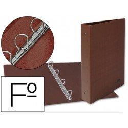 Carpeta Liderpapel folio 4 anillas lomo 55 mm carton cuero