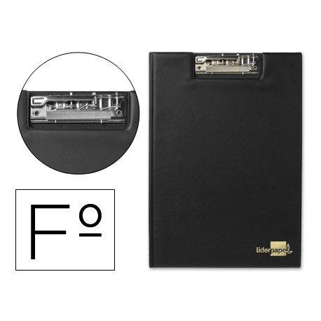 Portanotas plastico con miniclip superior Liderpapel negro