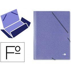Carpetas de gomas carton simil prespan Liderpapel Folio azul