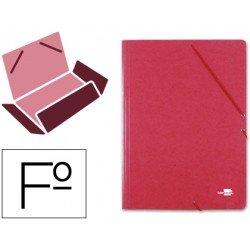 Carpetas de gomas carton simil prespan Liderpapel Folio rojo
