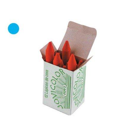 Lapices cera Jovi caja de 12 unidades azul claro
