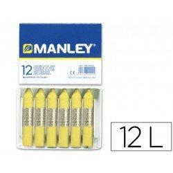Lapices cera blanda Manley caja 12 unidades amarillo claro
