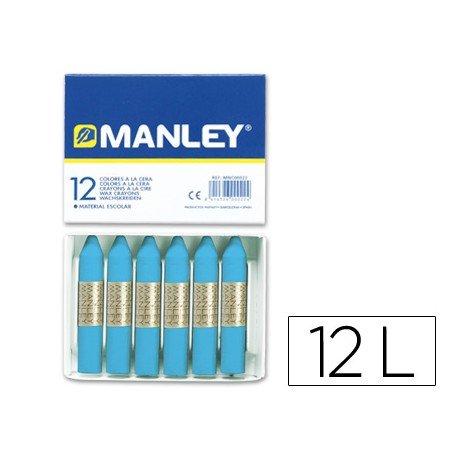 Lapices cera blanda Manley caja 12 unidades azul celeste