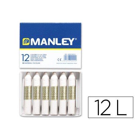 Lapices cera blanda Manley caja 12 unidades blanco