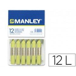 Lapices cera blanda Manley caja 12 unidades verde amarillento