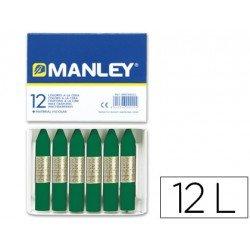 Lapices cera blanda Manley caja 12 unidades verde esmeralda