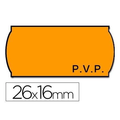 Rollo Etiquetas adhesivas marca Meto PVP fluor naranja 26 x 16
