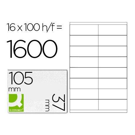 Etiquetas Adhesivas marca Q-Connect 105 x 37 mm kf10654 fotocopiadora laser ink-jet caja con 100 hojas din a4.