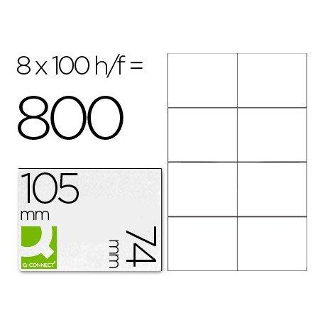 Etiquetas Adhesivas marca Q-Connect 105 x 74 mm kf10659 fotocopiadora laser ink-jet caja con 100 hojas din a4.