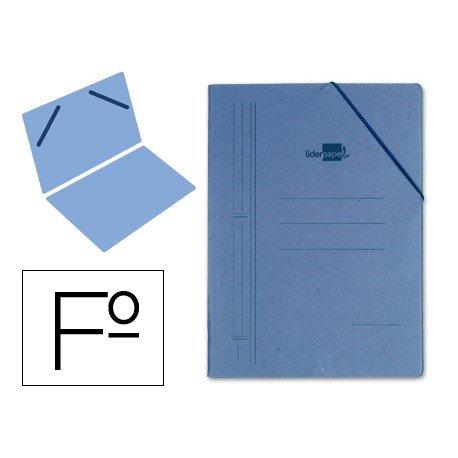 Carpeta Liderpapel con gomas carton azul sencilla folio
