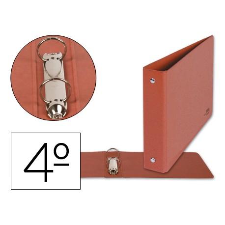 Carpeta marca Liderpapel 2 anillas 40 mm carton cuero cuarto apaisado