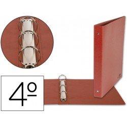 Carpeta marca Liderpapel 4 anillas 25 mm carton cuero cuarto