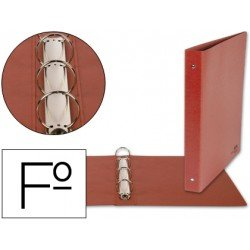 Carpeta marca Liderpapel 4 anillas 25 mm carton cuero folio