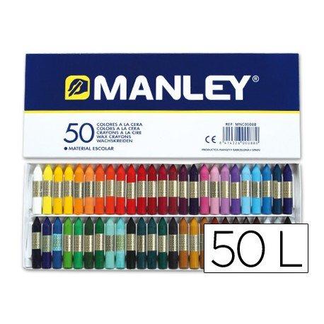 Lapices cera blanda Manley 50 unidades