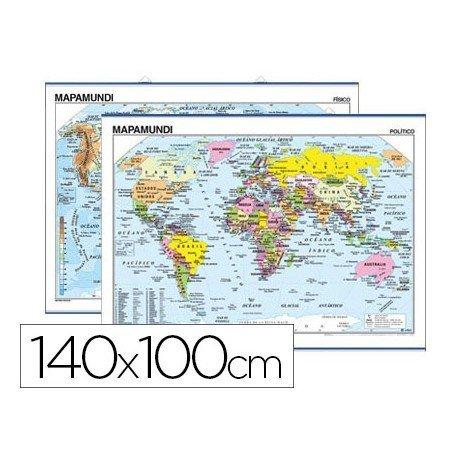 Mapa mural del planisferio fisico-politico