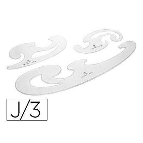 Plantillas curvas d.f. cristal juego de 3