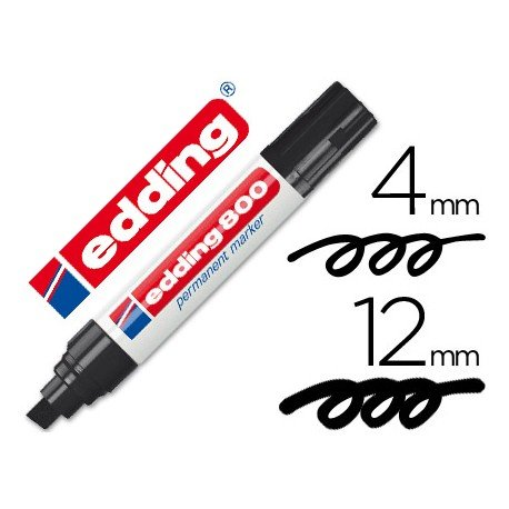 Rotulador Permanente Edding 800 Color Negro Punta Biselada
