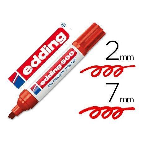 Rotulador Permanente Edding 500 Color Rojo Punta Biselada