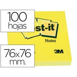 Post-it ® Bloc de notas adhesivas color amarillo quita y pon 76x76 mm