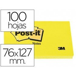 Post-it ® Bloc de notas adhesivas color amarilo 76x127 mm