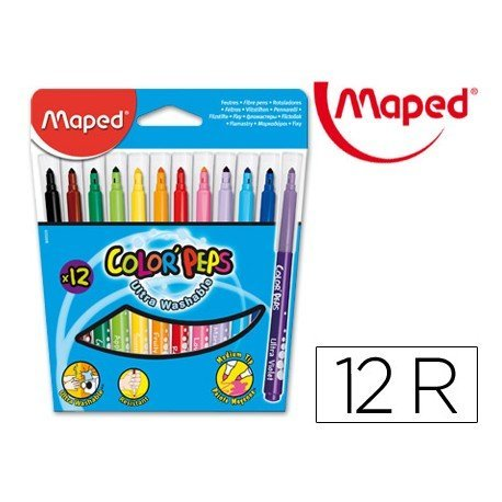 Rotulador marca Maped color peps estuche de 12 colores